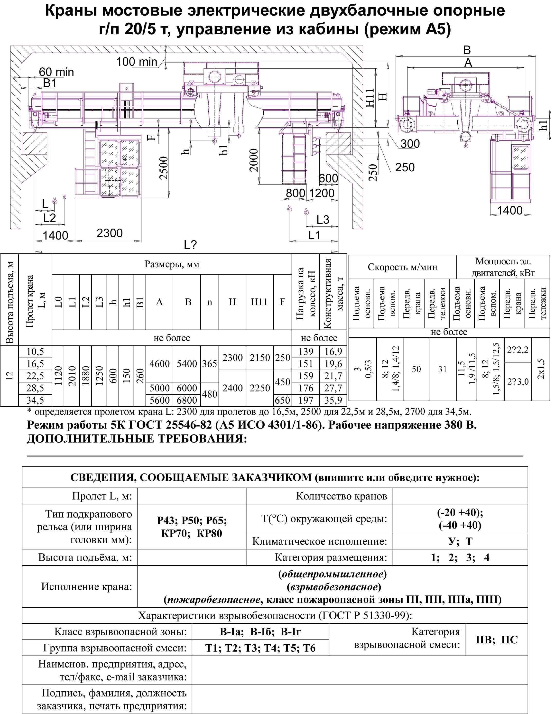 Схема управления мостового крана 20 тонн